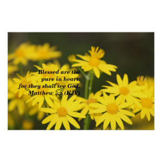 Matthew 5:8 Biblical Verse with Golden Flowers Poster