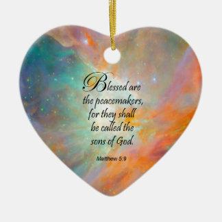 Matthew 5:9 ceramic heart ornament