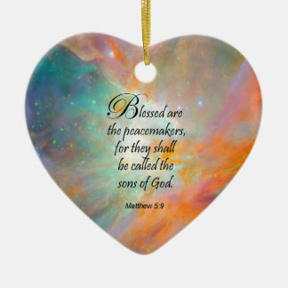 Matthew 5:9 ceramic ornament