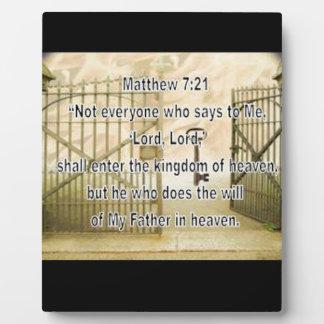 Matthew 7:21 plaque