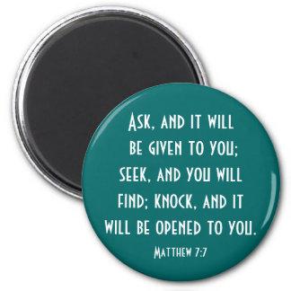 Matthew 7:7 2 inch round magnet