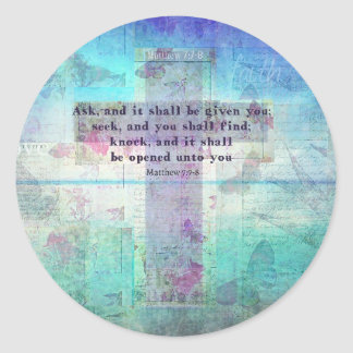 Matthew 7:7-8 Inspirational Bible Verse Christian Round Sticker