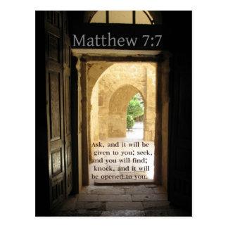 Matthew 7:7 Beautiful Bible Verse Postcard