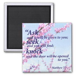 Matthew 7:7 square magnet