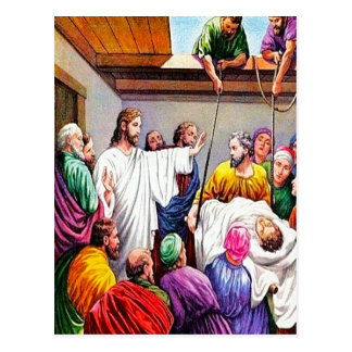 Matthew 9:1-8 Jesus Forgives and Heals postcard