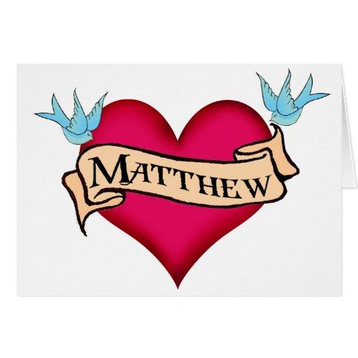 matthew custom heart tattoo gifts card zazzle. Black Bedroom Furniture Sets. Home Design Ideas