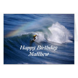 Matthew Happy Birthday Surfer With Rainbow Greeting Card