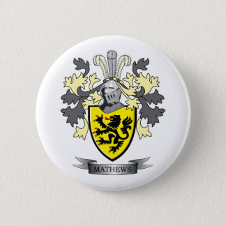 Matthews Family Crest Coat of Arms 2 Inch Round Button
