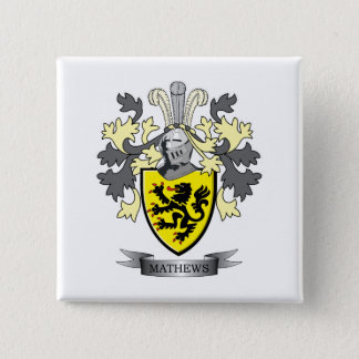 Matthews Family Crest Coat of Arms 2 Inch Square Button