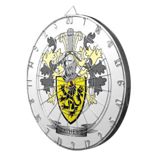 Matthews Family Crest Coat of Arms Dartboard