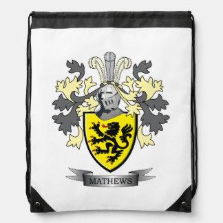 Matthews Family Crest Coat of Arms Drawstring Bag