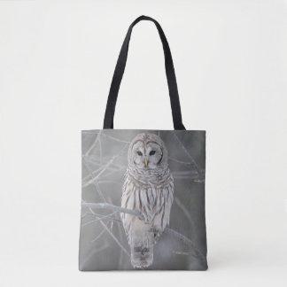 Mature Barred or Hoot Owl in Winter Tote Bag