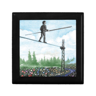 Mature Man Walking a Tightrope above Flowers Gift Box