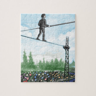Mature Man Walking a Tightrope above Flowers Jigsaw Puzzle