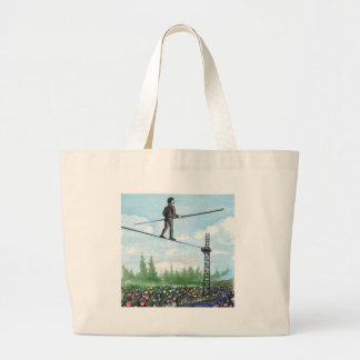 Mature Man Walking a Tightrope above Flowers Large Tote Bag