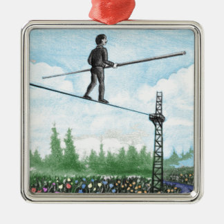 Mature Man Walking a Tightrope above Flowers Metal Ornament
