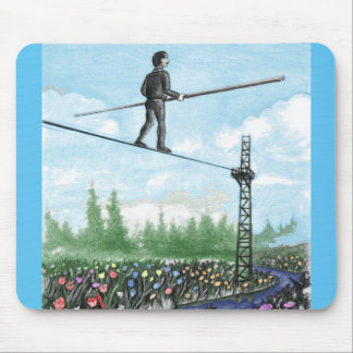 Mature Man Walking a Tightrope above Flowers Mouse Pad