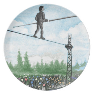 Mature Man Walking a Tightrope above Flowers Plate