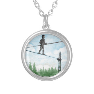 Mature Man Walking a Tightrope above Flowers Silver Plated Necklace