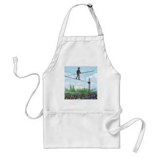 Mature Man Walking a Tightrope above Flowers Standard Apron