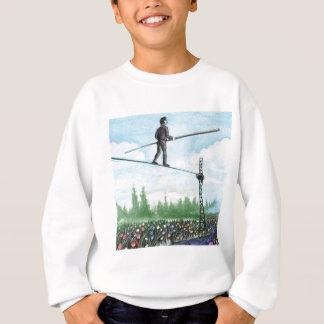 Mature Man Walking a Tightrope above Flowers Sweatshirt