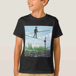 Mature Man Walking a Tightrope above Flowers T-Shirt