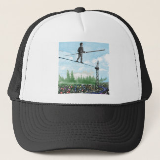 Mature Man Walking a Tightrope above Flowers Trucker Hat