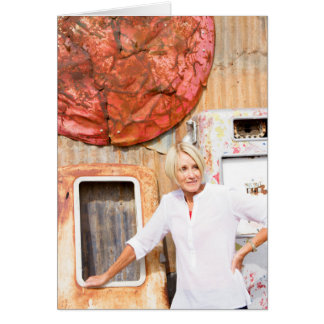 Mature Woman Among Rusting Metal in Junk Yard Card