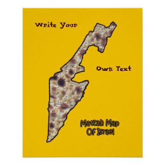 Matzah Map Of Israel - Write Your Own Text Poster