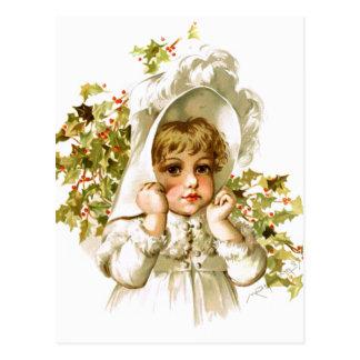 Maud Humphrey: Autumn Girl with Holly Postcard