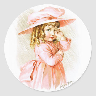 Maud Humphrey: Spring Girl in the Rain Round Sticker