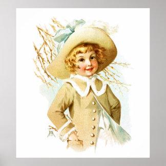 Maud Humphrey: Spring Girl under Willow Catkin Poster