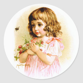 Maud Humphrey: Summer Girl with Flowers and Bee Classic Round Sticker