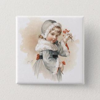 Maud Humphrey's Winter Girl 2 Inch Square Button