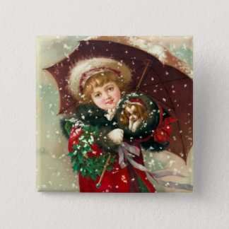 Maud Humphrey's Winter Girl with dog 2 Inch Square Button