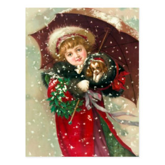 Maud Humphrey's Winter Girl with dog Postcard