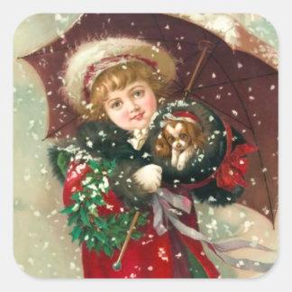 Maud Humphrey's Winter Girl with dog Square Sticker