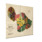Maui, 1885, Vintage Antiquarian Hawaii Map Canvas Print