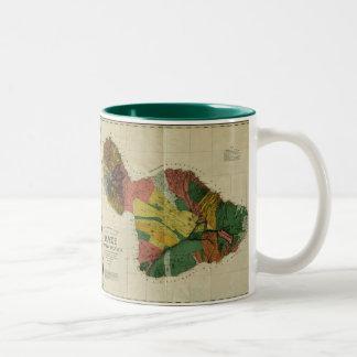 Maui, 1885, Vintage Hawaii Map Two-Tone Coffee Mug