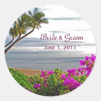 Maui Beach Wedding Stickers