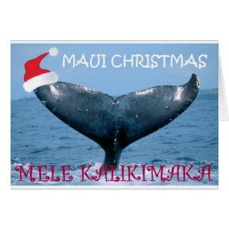 """MAUI CHRISTMAS """"MELE KALIKIMAKA"""" WHALE TAIL CARD"""