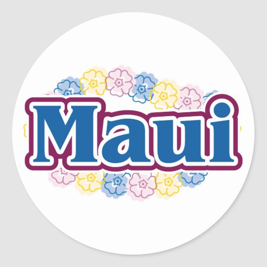 Maui flowers classic round sticker