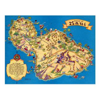 Maui Funny Vintage Map Postcard