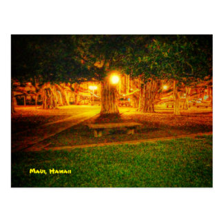 maui, hawaii postcard with picture of banyan tree