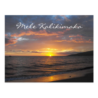 Maui Hawaii Sunset, Mele Kalikimaka, Postcard