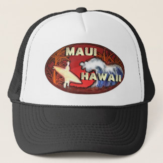 Maui Hawaii surfer waves artistic beach scene hat