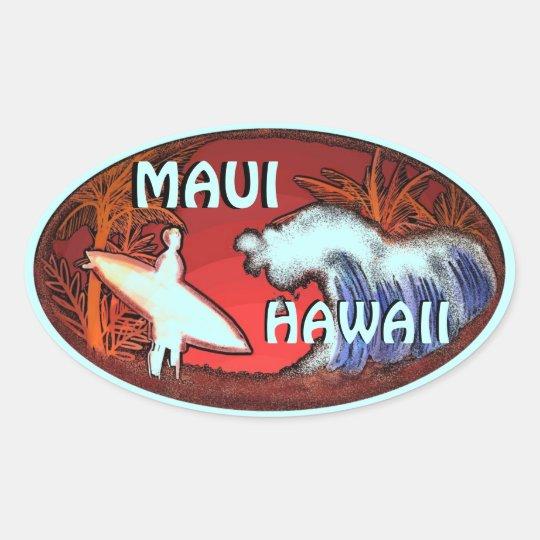 Maui Hawaii teal surfer waves art stickers