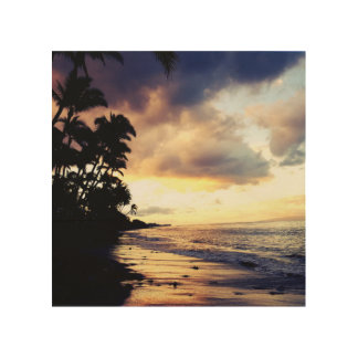 Maui Sunset and Surf Wood Print