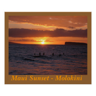 Maui Sunset at Little Beach Poster