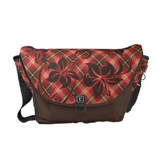 Mauna Loa Hawaiian Hibiscus Plaid Messenger Bag